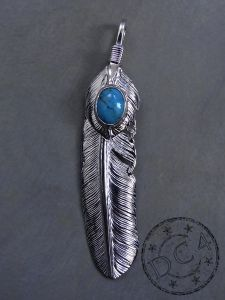 First Arrow`s - Feather Pendant with Heartfeather with Turquoise - Large - Right
