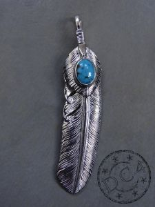 First Arrow`s - Feather Pendant with Heartfeather with Turquoise - Large - Left