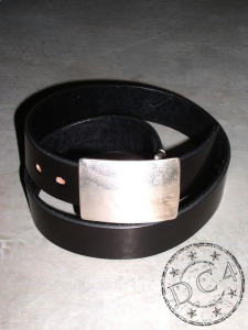 The Flat Head  - Black Saddle Leather Belt  - Plate Buckle