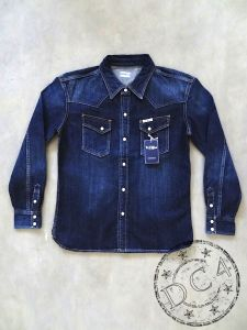 The Flat Head - F-DS003C - Special Custom Denim Western Shirt - Selvedge - Zimbabwe Cotton