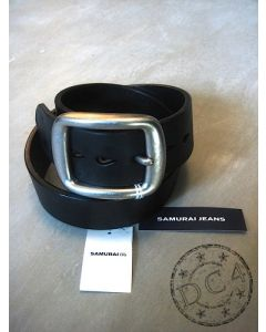 Samurai Jeans - Black Heavy Weight - Curved Leather Belt -
